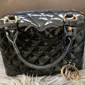 Quilted, Patent Faux leather, top handle bag.